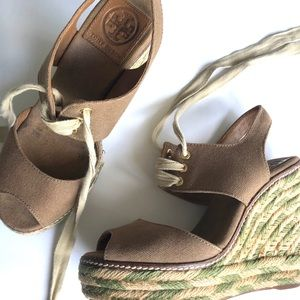 TORY BURCH LACE UP CANVAA ESPADRILLES GREEN BROWN